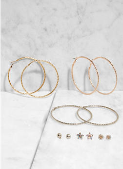 Set of Assorted Stud and Hoop Earrings - 3135074141258