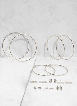 Assorted Hoop and Stud Earrings Set - 3135074141275