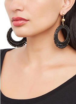 Woven Circular Drop Earrings - 3135074141577