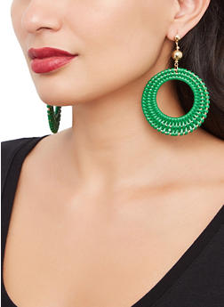 Woven Circular Drop Earrings - 3135074141577
