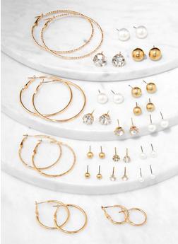 Set of 20 Assorted Hoop and Stud Earrings - 3135074141681
