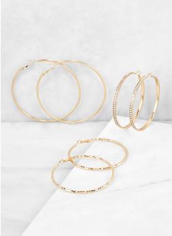 Rhinestone Metallic Hoop Earring Trio - 3135074170501