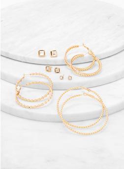 Textured Hoop and Stud Earrings Set - 3135074170726