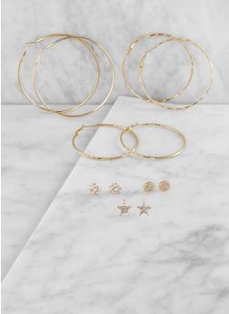 Rhinestone Stud and Hoop Earrings Set - 3135074171013