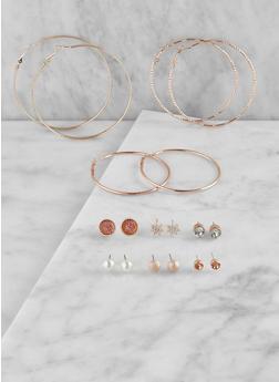 Set of 9 Assorted Hoop and Stud Earrings - 3135074171014