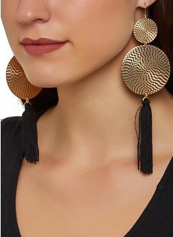 Tassel Metallic Disc Earrings - 3135074171091