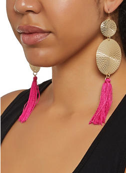 Tassel Metallic Disc Earrings - 3135074171091