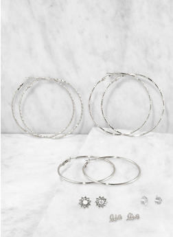 Set of Assorted Metallic Stud and Hoop Earrings - 3135074171094