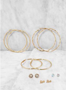 Set of Assorted Metallic Stud and Hoop Earrings - 3135074171094