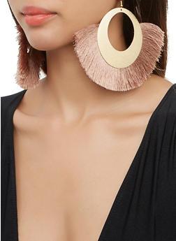 Textured Metallic Fringe Drop Earrings - 3135074171142