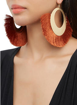 Textured Metallic Fringe Drop Earrings - 3135074171142