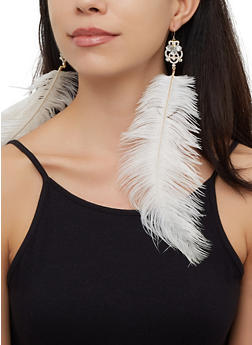 Oversized Feather Earrings - 3135074171325