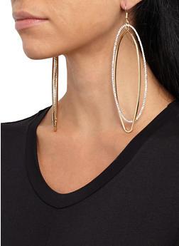 Oversized Oval Drop Earrings - 3135074171808