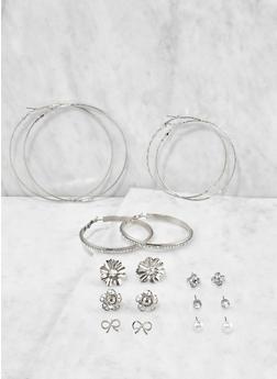 Set of 9 Assorted Hoop and Stud Earrings - 3135074171821
