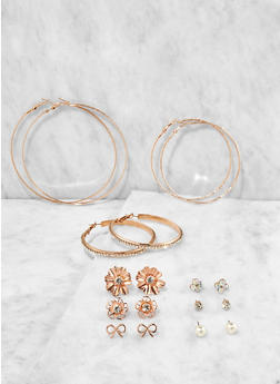 Set of 9 Assorted Hoop and Stud Earrings - 3135074171821