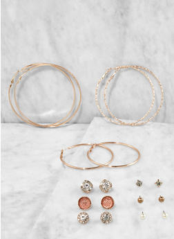 Metallic Hoop and Stud Earrings Set - 3135074171825