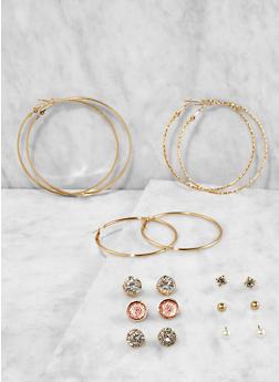 Metallic Hoop and Stud Earrings Set - 3135074171825