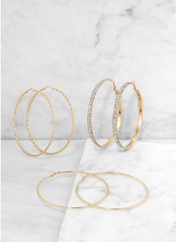 Oversized Textured Hoop Earrings - 3135074171954