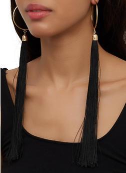 Long Tassel Hoop Earrings - 3135074172132