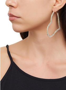 Rhinestone Heart Earrings - 3135074172620
