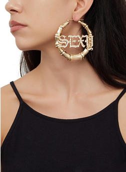 Rhinestone Sexy Bamboo Hoop Earrings - 3135074173136