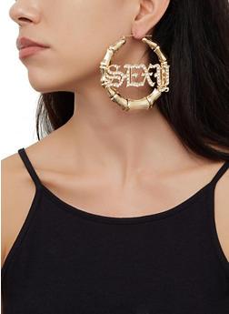 Rhinestone Sexy Bamboo Hoop Earrings - 3135074173136