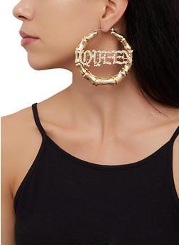 Queen Bamboo Hoop Earrings - 3135074173137