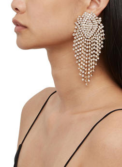Rhinestone Fringe Statement Earrings - 3135074176320