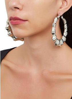 Metallic Bamboo Hoop Earrings | 3135074179172 - 3135074179172