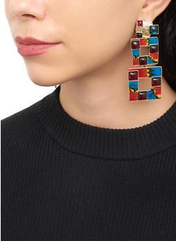 Double Square Drop Earrings - 3135074370015