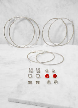 Set of Assorted Stud and Hoop Earrings - 3135074370112
