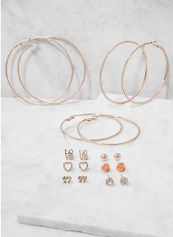 Set of Assorted Stud and Hoop Earrings - 3135074370112