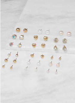 Faux Pearl Stud Earrings Set - 3135074370130