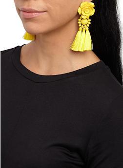 Rose Beaded Tassel Earrings - 3135074370140