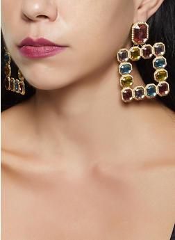 Rhinestone Square Drop Earrings - 3135074370254
