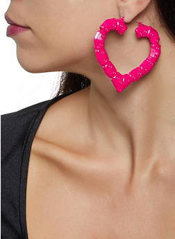 Heart Bamboo Hoop Earrings - 3135074370590