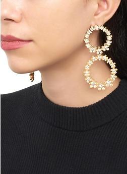 Double Flower Circle Drop Earrings - 3135074372105