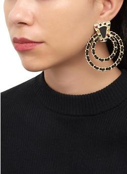 Woven Circle Drop Earrings - 3135074372114