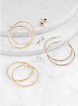 Set of 6 Assorted Hoop and Stud Earrings - 3135074373454