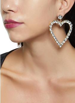 Rhinestone Heart Drop Earrings - 3135074374041