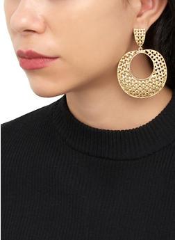 Textured Metallic Circle Drop Earrings - 3135074374600