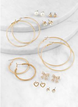 Assorted Stud and Textured Hoop Earrings Set - 3135074377001