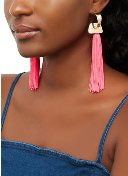 Half Hoop Tassel Earrings - 3135074378088