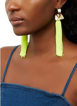 Half Hoop Tassel Earrings - 3135074378088