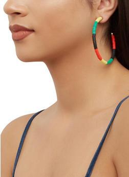 Color Block Open Hoop Earrings - 3135074379149