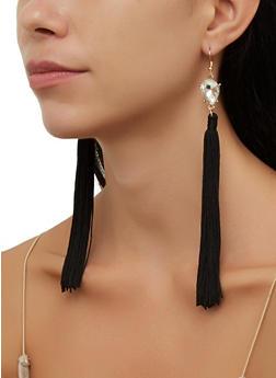 Rhinestone Teardrop Tassel Drop Earrings - 3135074752402