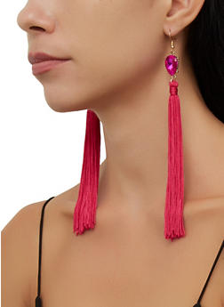 Rhinestone Teardrop Tassel Drop Earrings - 3135074752402