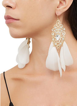Feather Rhinestone Chandelier Earrings - 3135074974057