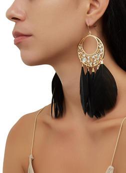 Circular Metallic Feather Drop Earrings - 3135074974058