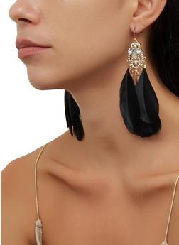 Multi Feather Rhinestone Drop Earrings - 3135074974060